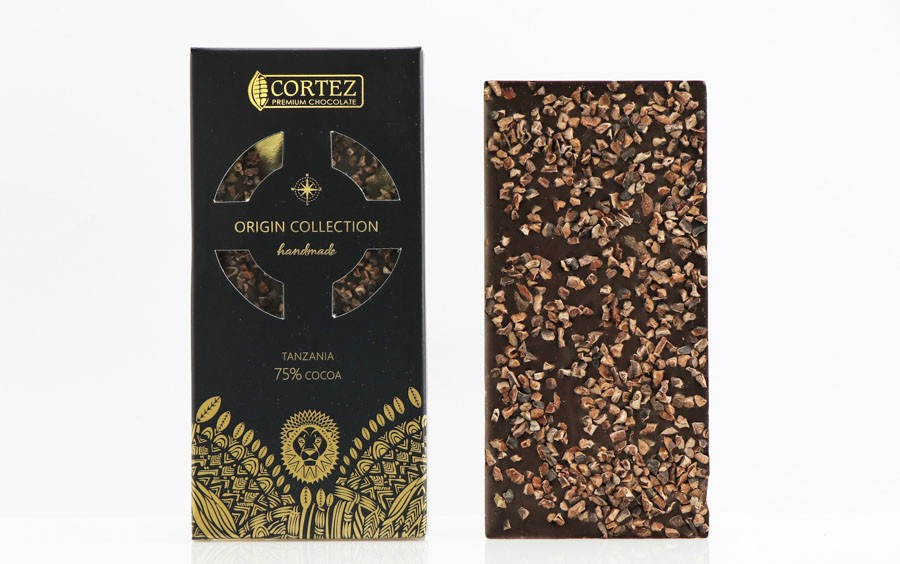 Czekolada Origin Tanzania 75% z Prażonym Ziarnem Kakaowca Cortez 85g