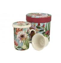 Kubek z Zaparzaczem Porcelanowym - Tropical 300 ml