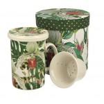 Kubek z Zaparzaczem Porcelanowym - Orchidea 300 ml