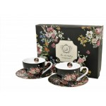 Kpl. 2 Filiżanek do Espresso (2x110ml) - Vintage Flowers Black